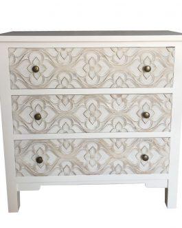 Cómoda madera tallada blanco/beig 78x30x78 cm