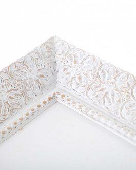 Bandeja resina blanco envejecido 15x3x25 cm
