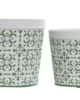 Macetero cemento mosaico verde.