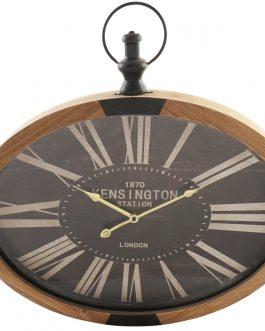 Reloj pared madera cristal 59,5×6,5×60 cm