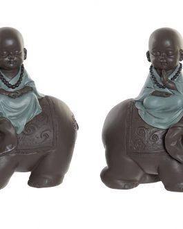 Figura resina monje en elefante 17,5x9x18 cm