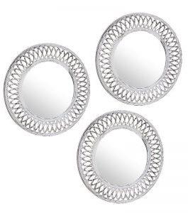 Set 3 espejo pared blanco 25 cm