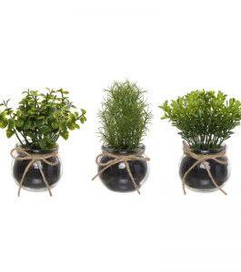 Planta artificial en maceta cristal 15x8x8 cm