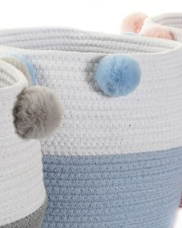 Cesta algodón pompón 30x30x26 cm
