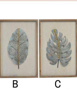Decoración pared metal hojas 40x60x3 cm