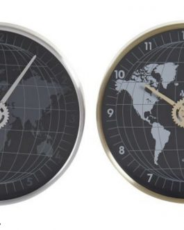 Reloj pared aluminio mapamundi 30×4,3×30 cm