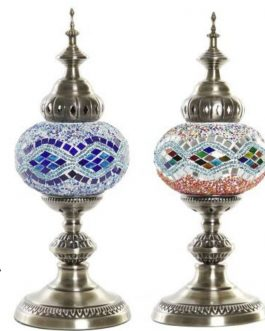 Lámpara sobremesa metal/cristal 15x15x42 cm