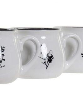 Mug gres blanco/negro 12x9x8 cm, 330 ML.