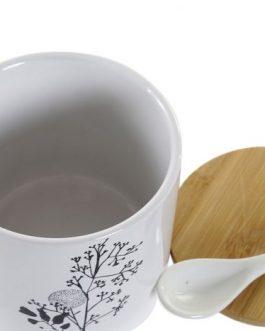 Azucarero gres/bambú blanco/negro 9,5×9,5×9,5 cm