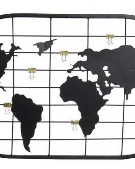 Portafoto metal mapamundi negro 60x1x35 cm