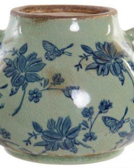 Jarrón loza mariposa azul 20x20x16 cm