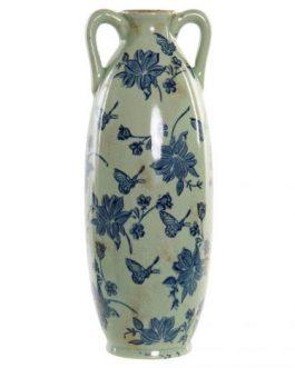 Jarrón loza mariposa azul 13x13x34 cm