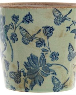 Maceta loza mariposa azul 14x14x13 cm