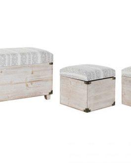 Baúl madera poliester crema