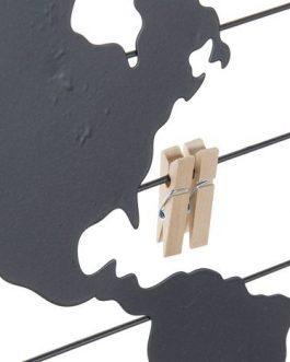 Portafoto metal mapamundi negro 40x1x40 cm
