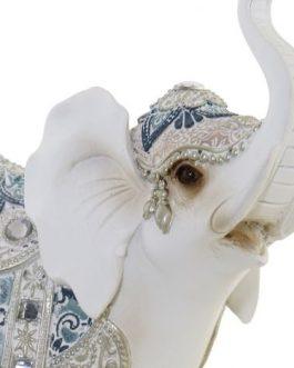 Figura elefante resina blanco 20,5x9x24 cm