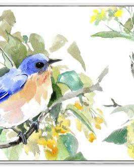 Cuadro pájaros con marco 43×43 cm