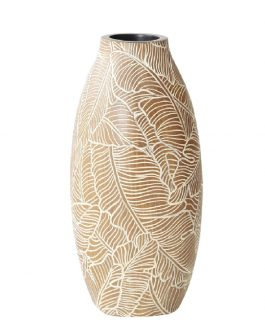 Florero resina marrón/blanco 15x15x32 cm