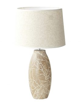 Lámpara sobremesa resina marrón/blanco 35x35x62 cm