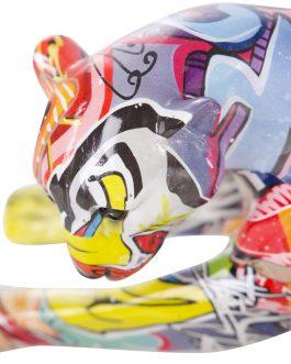 Figura leopardo grafiti resina 42,5×12,5×14,5 cm