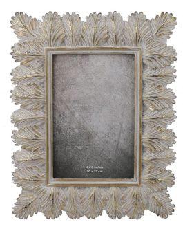 Portafoto resina dorado hojas 10×15 cm