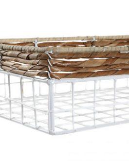 Set 3 cesta fibra metal 29x19x8 cm