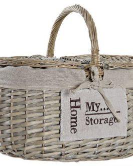 Cesta picnic mimbre/algodón 34x25x20 cm