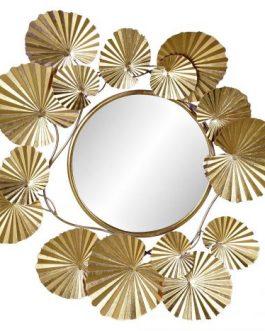 Espejo metal hojas doradas 92x7x87 cm