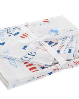 Mantel Set 4 servicios algodón peces 150×150 cm