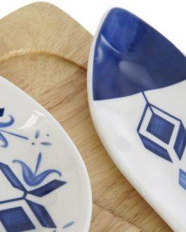 Set de 5 aperitivo porcelana/madera 37×19 cm