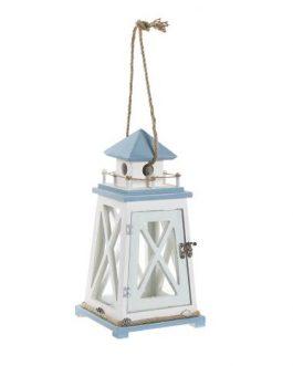 Farola MDF/cristal azul y blanco 17x17x54 cm