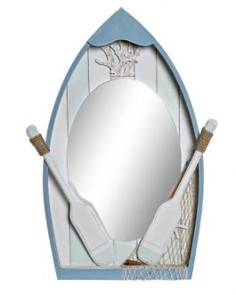Espejo barca azul MDF/cristal 44x8x61,5 cm