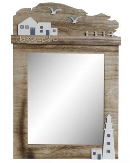 Espejo madera natural marrón faro 34x3x51 cm