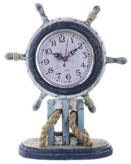 Reloj timón azul abeto/MDF 23×10,5×30 cm
