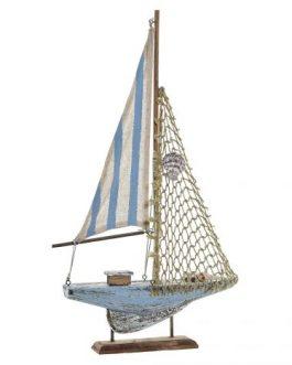 Barco vela pino/poliester 28x5x46 cm