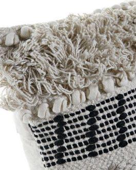 Cojín algodón flecos crema 45x10x45 cm