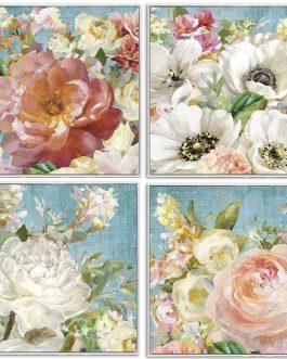 Cuadro flores con marco 43x3x43 cm