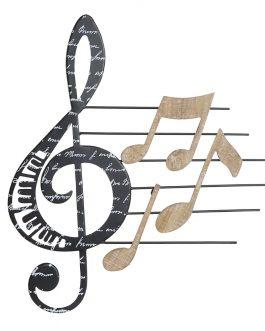 Decoración pared metal notas musicales 42x1x45 cm