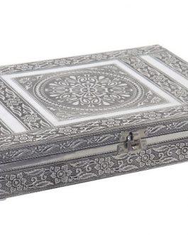 Joyero madera aluminio plateado 27,5×5,4×20 cm