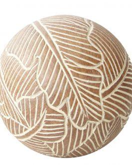 Bola resina marrón/blanco 12×12 cm